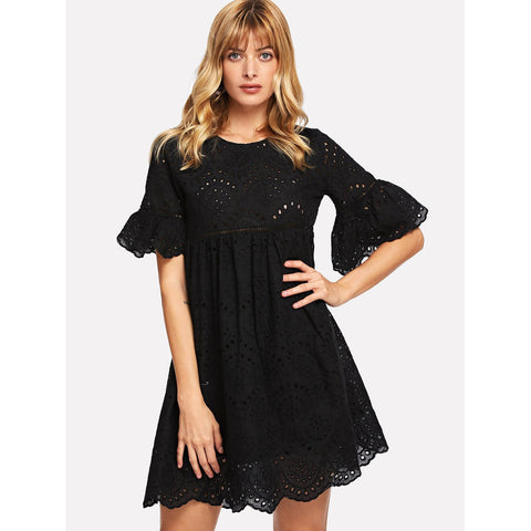 Black Laddering Lace Insert Eyelet Embroidered Dress