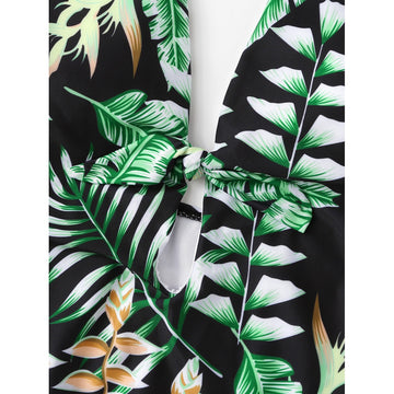 Leaf Print Knot Swimsuit - Fashiontage