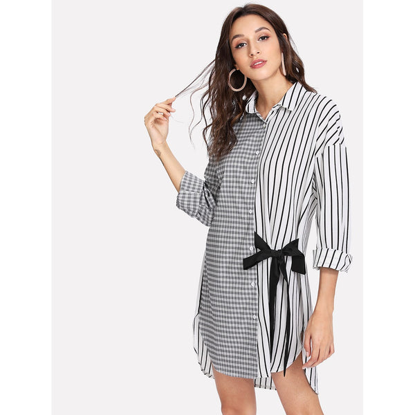 - Women's Trendy Black and White Collar Long Sleeve Striped Asymmetrical Dress