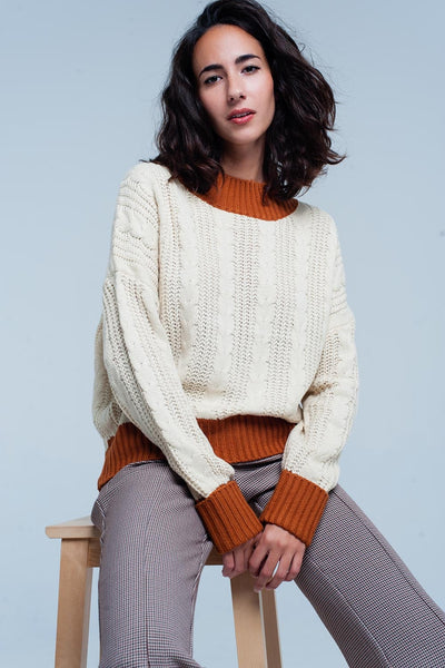 Beige High Collar Sleeves Sweater
