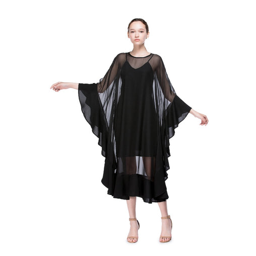 Black Boat Neck Long Cocktail Dress