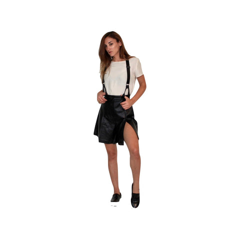 Charli Leather Shorts W Suspenders