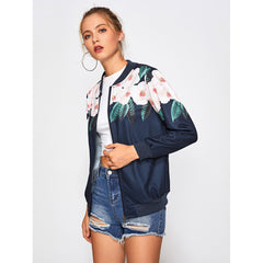 Navy Stand Collar Floral Print Jacket