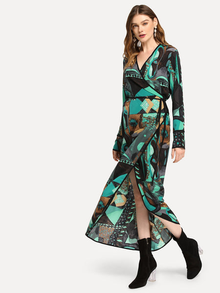 Multicolor Surplice Neck Graphic Print Dress