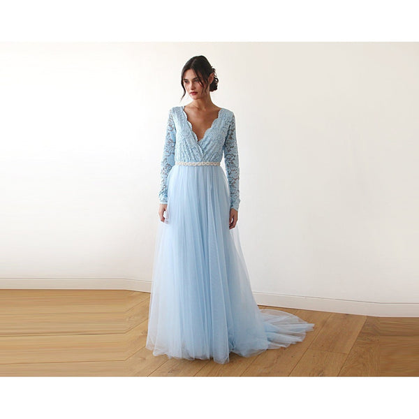 Blue V-Neck Long Sleeve Tulle Dress