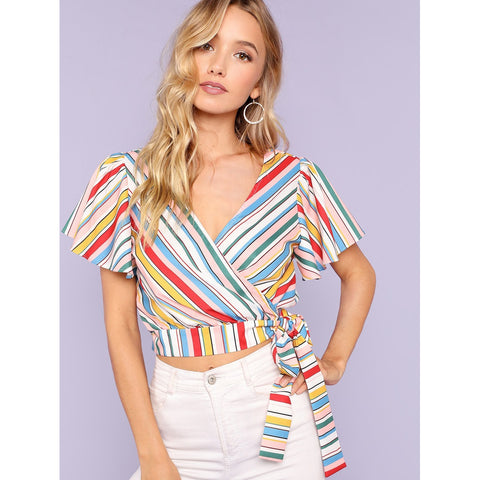Tops - Women's Trendy Multicolor Knotted Striped Wrap Top