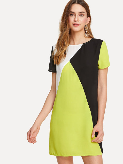 Multicolor Cut And Sew Keyhole Back Tunic Dress