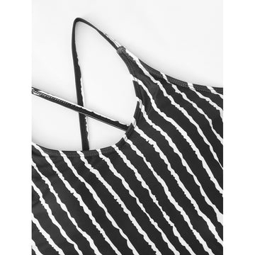 Black And White Stripe Swimsuit - Fashiontage