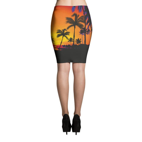 Asymmetric & Draped Skirts - Women's Trendy Tropical Elastic Waist Polyester Pencil Skirt