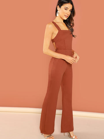 Jumpsuits - Women's Trendy Rust Sleeveless Wide Leg Side Pocket Jumpsuit
