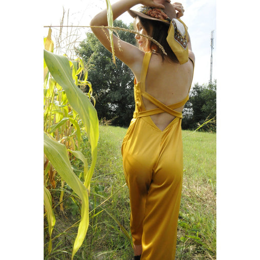 Golden Flower Print Zipper Jumpsuit