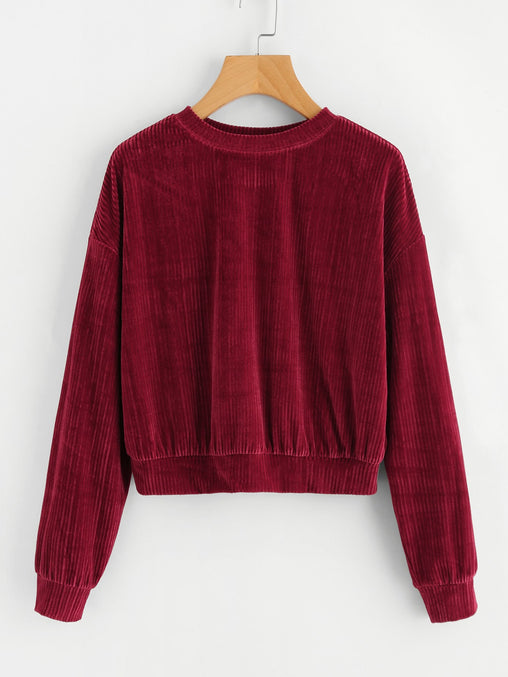 Burgundy Drop Shoulder Ribbed Velvet Sweatshirt