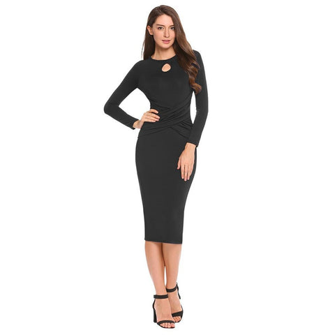 Cocktail & Party Dresses - Women's Trendy Blue Collar Half Sleeve Party Dress