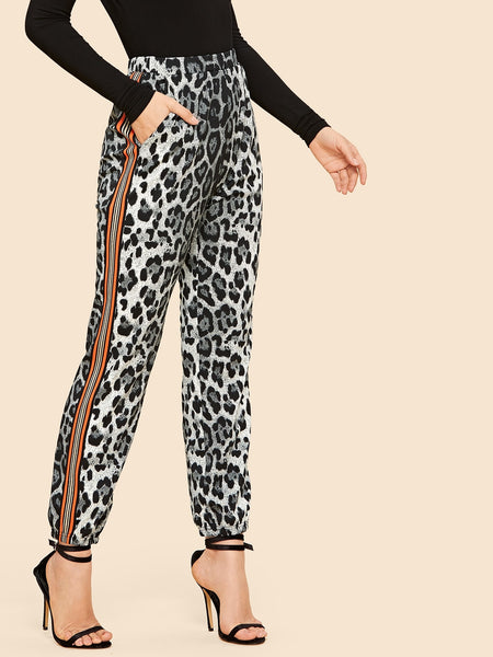 Contrast Tape Slant Pocket Leopard Pants