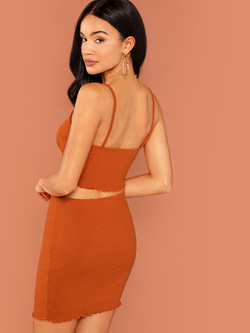 Bras - Women's Trendy Rust Rib Knit Ruffle Hem Cami Top And Mini Skirt Set