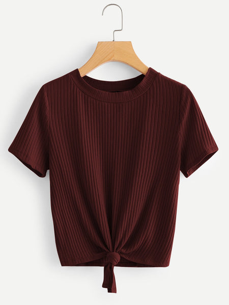 Burgundy Knot Front Solid Ribbed T-Shirt