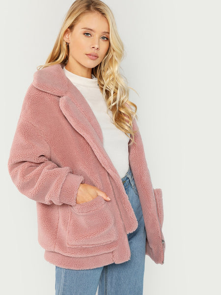 Plus Size Pink Drop Shoulder Oversized Fleece Teddy Jacket