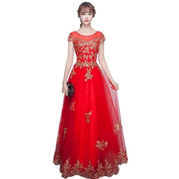 Formal Dresses - Women's Trendy Long Formal Appliques Evening Dresses