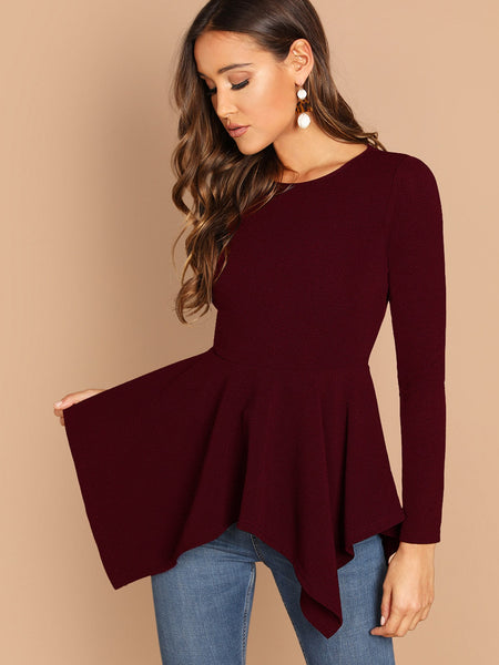 Burgundy Zip Back Asymmetrical Hem Solid Top