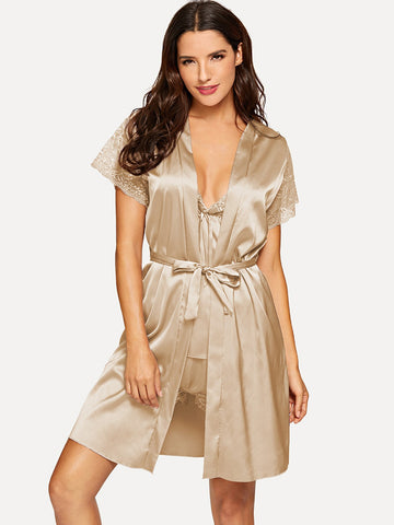 Nightwear - Women's Trendy Camel Contrast Lace Pajama Set With Robe