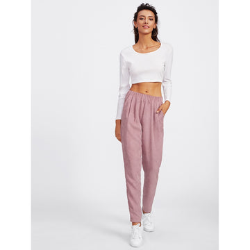 Faux Flap Pocket Back Cord Peg Pants - Fashiontage