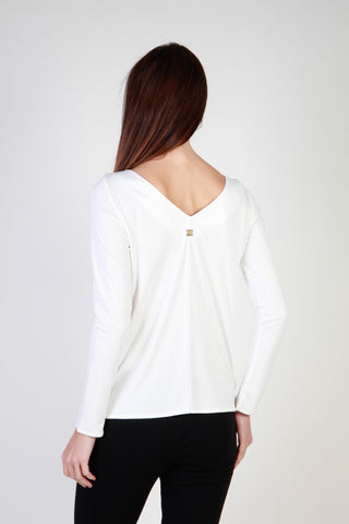 Cavalli Class White Crew Neck Long Sleeve Sweater