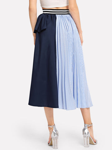 Pleated Skirts - Women's Trendy Multicolor Ruffle Trim Striped Panel Skirt