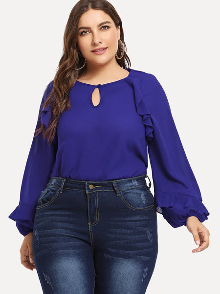 Plus Size Blue Solid Frill Trim Top