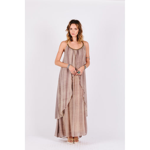 Brown Two Tiered Maxi Dress