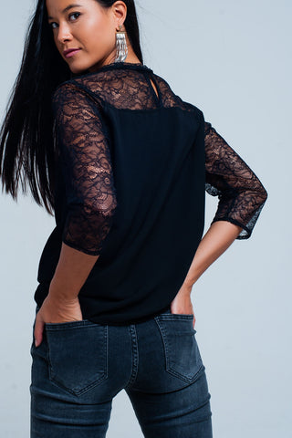 Sweatshirts - Women's Trendy Black Sleeves Blouse