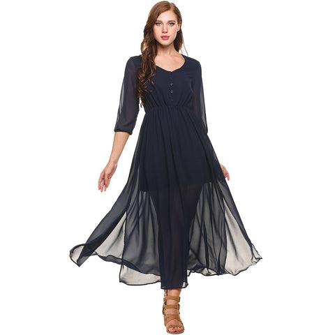 Formal Dresses - Women's Trendy Black V-Neck Full Length Maxi Dress