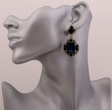 Crystal Geometric Drop Earring