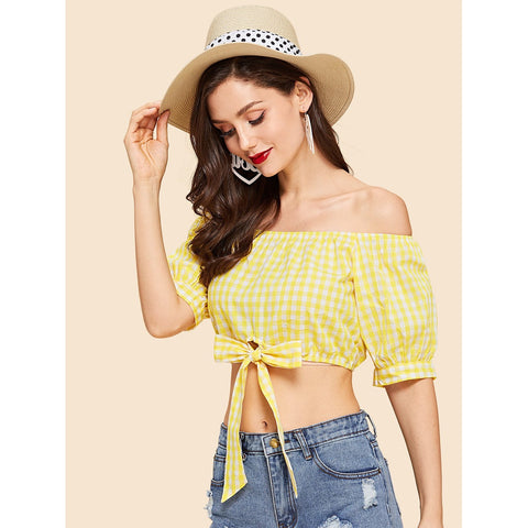 Yellow Tie Front Off Shoulder Gingham Top