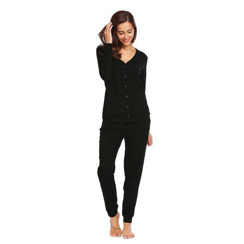 Cropped Pants - Women's Trendy Black Cotton Button Front Pajama Set