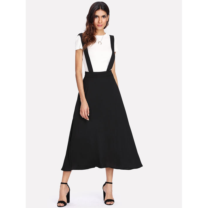 Black Plain Long Full Shift Skirt - Fashiontage
