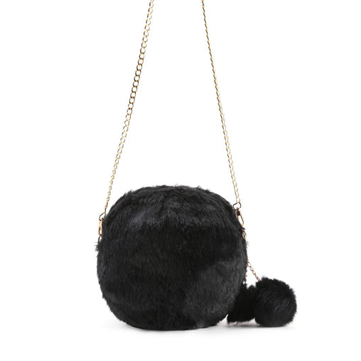 Black Faux Fur Overlay Crossbody Bag With Pom