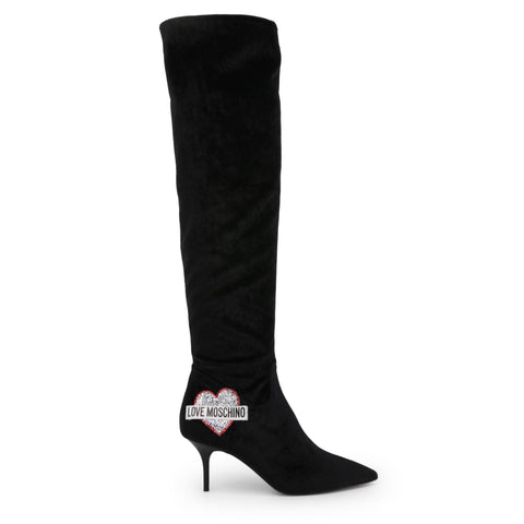 Boots - Women's Trendy Love Moschino Black Glitter Boots