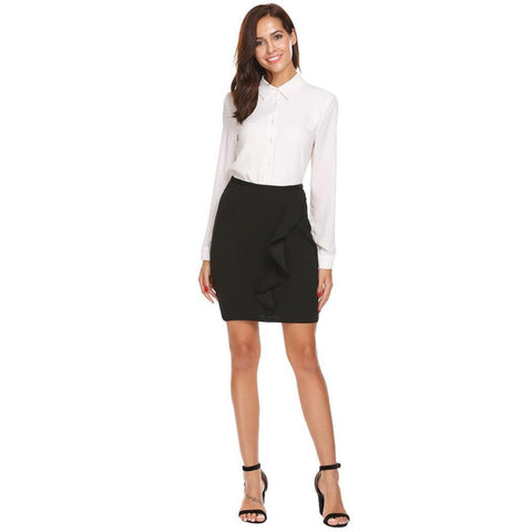 Asymmetric & Draped Skirts - Women's Trendy Black Above Knee High Waist Pencil Skirt