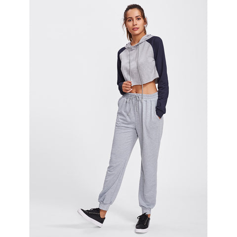 Sweatpants - Women's Trendy Grey Mid Waist Sporty Sweatpant