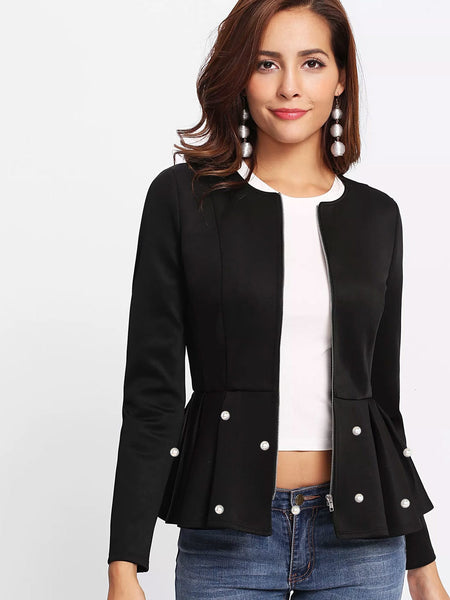 Black Zip Up Pearl Embellished Peplum Jacket