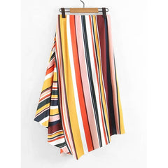 Asymmetrical Striped Skirt - Fashiontage