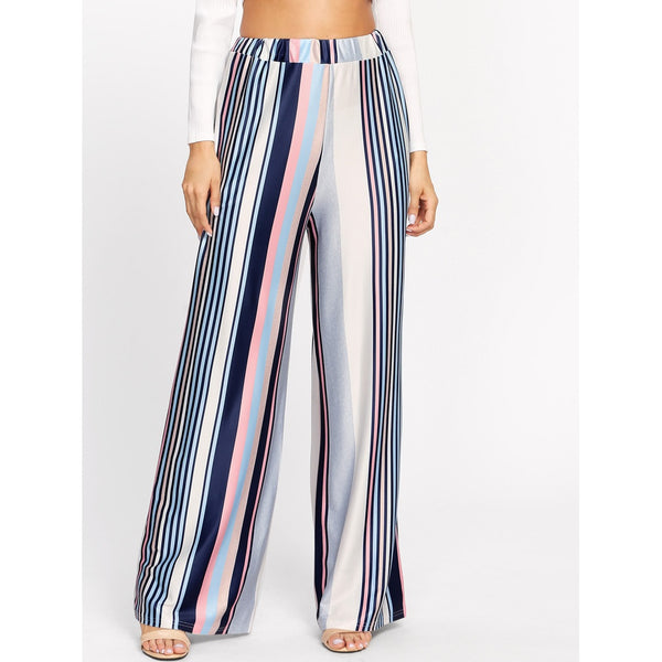 Wide Leg Pants - Women's Trendy Multicolor Mid Waist Striped Wide Leg Long Pant