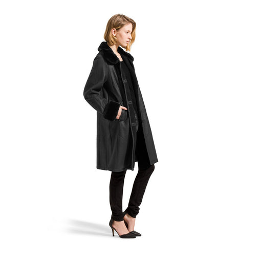 Black Collar Lambskin Coat