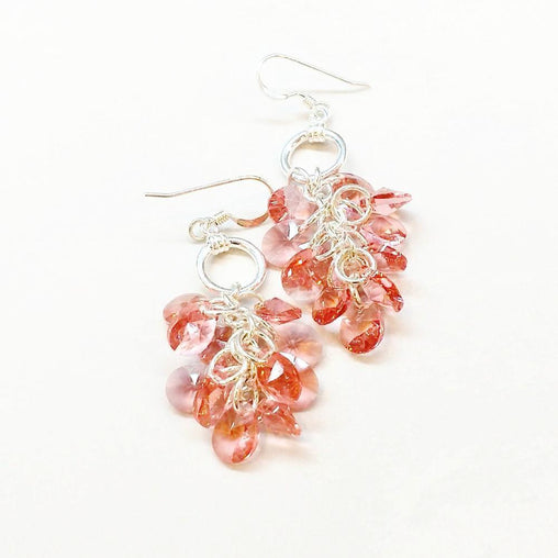 Rose Peach Crystal Sterling Silver Cluster Earrings