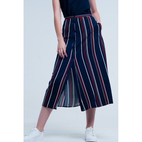 Asymmetric & Draped Skirts - Women's Trendy Blue Striped Mini Skirt