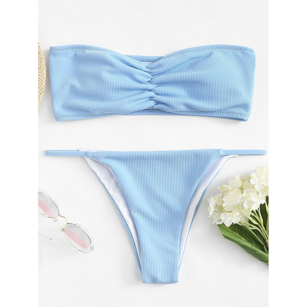Blue Plain Bikini Set - Fashiontage