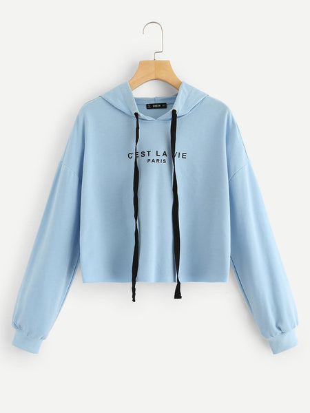 Blue Drop Shoulder Hoodie