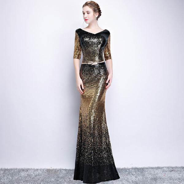 Collar Long Sequin Party Dress