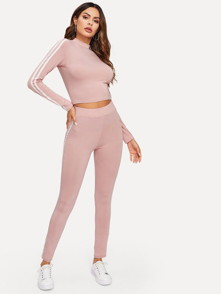Pink Mock Neck Striped Fitted Top & Legging Set