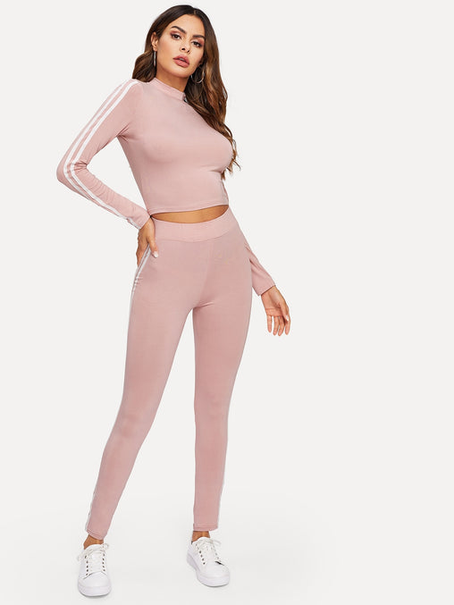 Pink Mock Neck Striped Fitted Top & Leggings Set